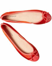 TOPSHOP ORANGE BALLET FLAT PUMPS SHOES BALLERINAS WITH CAP TOE AND BOW NEW