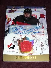 15-16 UD Team Canada BRETT HOWDEN World Juniors Auto Patch 22/125 1/1 HIS JSY#