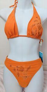 Women's Bikini Two Piece Swimsuit - Orange Sequin Floral Design BRAND NEW