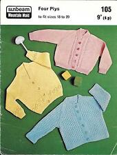 """Sunbeam 105 Vintage Knitting Pattern Baby Cardigans 18-20"""" 9 - 24 months 4 ply"""