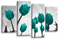 FLORAL Flower Art Picture Grey Teal Tulip Love Wall Canvas Split 4 Panel 112cm