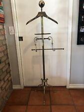 Vtg Spiral Brass Valet Butler Lg Brass Ball Finial Tray Pants Hanger Tripod Base