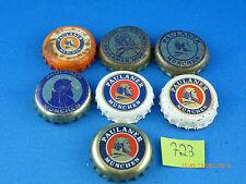 """7 verschiedene zum Teil sehr alte Kronkorken von der Brauerei Paulaner """"ab 1980"""""""