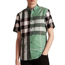 855d5a359d9f0c Burberry brit mens fred aqua green short sleeve button down check shirt  xs,s,