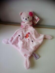Doudou ours robe rose mouchoir oiseau fleurs étoiles Pommette neuf
