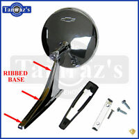 Chevy Chrome Round BOWTIE Rear View RIBBED Base Door Side Mirror & Hardware
