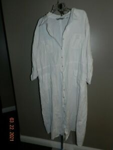 Avenue Plus Size 30/32 Linen Dress Artsy V Neck shirt Dress NWT