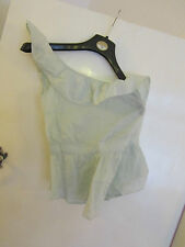 One Shoulder Mint Green Cotton Warehouse Frilly Top in Size 8 - unused