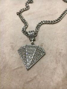 Silver Iced Out Diamond Pendant Necklace