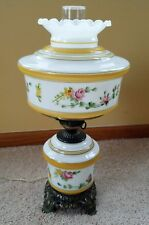 Gorgeous 1950's Glass Hurricane Table Lamp Rose Floral Design
