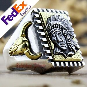 Tribe Leader 925 Sterling Silver Turkish Handmade Luxury Men's Ring All Sizes