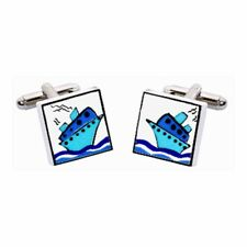 Blue Cruise Ship Cufflinks by Sonia Spencer, Boat, Cruise Liner, RRP £20