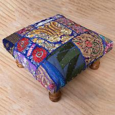 Blue Handmade Indian Ethically Sourced Fair Trade Patchwork Footstool