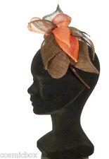 Chapeau de cérémonie femme serre tête TOUT en TETE marron & rouge brown red hat