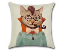 """COOL CAT 😺 Heavy Linen CUSHION COVER 😺 18""""x18"""" (45cm) 🍁CANADIAN SELLER🍁"""