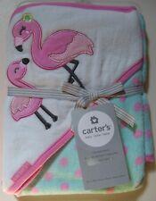 Girls Carter's Pink Flamingo Polka Dot Hooded Towel 100% Cotton NEW
