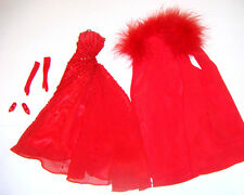 Barbie Fashion Red Evening Gown/Stole For Model Muse Barbie Dolls fn781