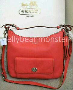 COACH 22381 LEGACY LEATHER COURTENAY HOBO BAG PURSE Crossbody Bright Coral New
