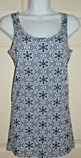 New Womens Large 12-14 Blue White Flower Tank Top Ribbed Time & Tru