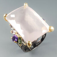 Unique Jewelry Natural Rose Quartz 925 Sterling Silver Ring Size 8/R113952