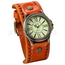 Retro Mens Womens Cool Punk Wrist Watch Wide Leather Band Bracelet Cuff+Gift Bag