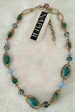 "Napier Necklace Gold Tone Midsummer Dance Collar  Teal 16"" + 3"" NWT $30"