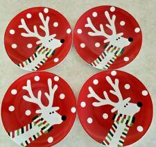 """Crate & Barrel Reindeer 6 Salad Plates 7 1/2"""" Diameter Circa 2008"""