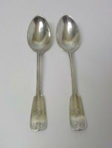 "Pair Antique TIFFANY & Co. PALM Sterling Silver Teaspoons, Mono. ""M J K"" (#3)"