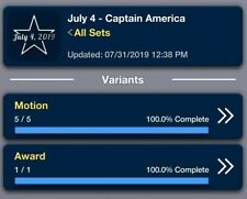 Topps Marvel Collect: July 4th Captain  America Motion Set W/Award Digital