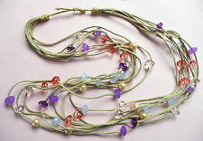 ZARA LONG MULTI ROW NECKLACE - BEAUTIFUL HIGHLY FACETED BEADS AND PEARLS - NEW