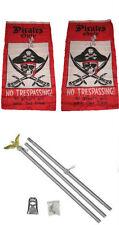 3x5 Pirate Pirates Only Trespassing 2ply Flag Aluminum Pole Kit Set 3'x5'