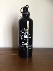 Dad ur My Hero Metal Drink Bottle Fathers Day Gift-BBQ