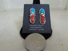 Turquoise & Red Coral Post Ear Rings .925 Sterling Silver By Effie Calavaza