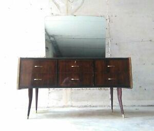Mid century Osvaldo Borsani sideboard cabinet Mahogany, Brass & Mirror italy 50s