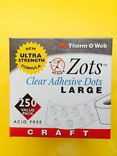 "ThermOweb ZOTS Clear Permanent Adhesive Dots LARGE 1/2"" 250 Count FREE SHIPPING!"