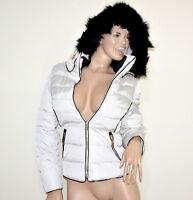 PIUMINO BIANCO donna giubbotto cappuccio pelliccia nera imbottito giubbino G55