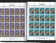 Liechtenstein sc#587-8 (1976) Complete Sheets of 20 MNH