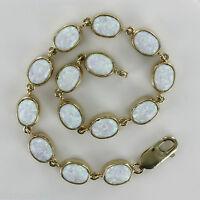 Hallmarked 9ct Yellow Gold Opal Bracelet