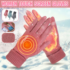 Women Winter Warm Gloves Suede Fabric Thermal Windproof Touch Screen Riding