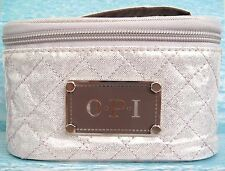 OPI CREAM QUILTED TRAVEL CASE for pens cosmetics or gel nail polish NEW Ltd Ed