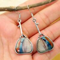 Boho Ethnic Natural Stone Eardrop Gemstone Turquoise Earrings Hook Ear Stud