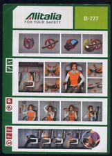 Alitalia Italian Airlines B 777 Airline SAFETY CARD A4 air brochure sc847 ax