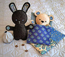 BEDTIME BUNNY & BEAR - Sewing Craft PATTERN - Soft Toy Rag doll Rabbit