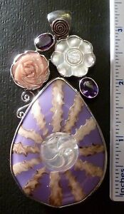 Huge Sterling Organic Mother of Pearl Flower Amethyst Pendant
