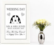Wedding day gift a4 print Penguin personalised  present anniversary couple love
