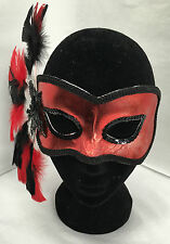 New Masquerade mask red and black feathered miss leila sequins carnival ball