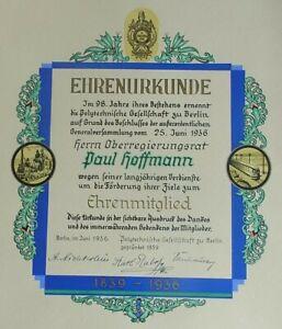 Calligraphy: Certificate Berlin 1936, Honorary Member Polytechnic Society