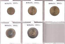 MONACO SET 5  EUROMUNTEN 10CT T/M €2  2003 UNC.