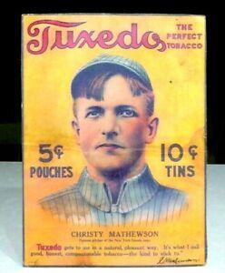 1910 Christy Mathewson Tuxedo Tobacco Baseball Display Sign Cardboard Original