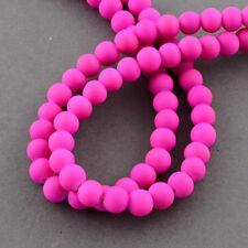 95 BULK Beads Round Rubberized Glass 8mm Pink Fuchsia Beads Wholesale Neon Matte